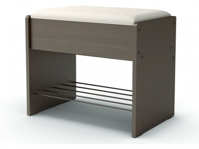 Банкетка с откидным сидением Венге - эко-кожа белая