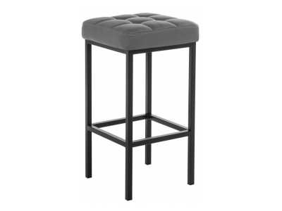 Барный стул Лофт кожзам темно-серый - чёрный матовый