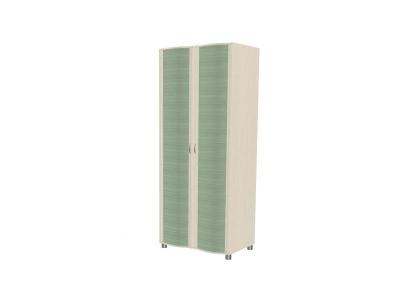 ШК-905 Шкаф для одежды и белья 2172х896х620 Дуб Беленый с зелеными вставками