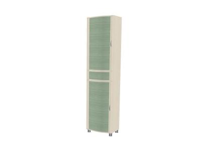 ШК-920 Шкаф для одежды и белья 2172х540х396 Дуб Беленый с зелеными вставками