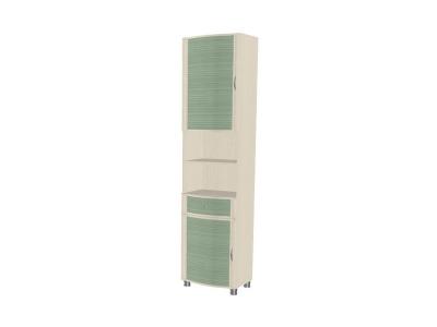 ШК-923 Шкаф 2172х540х396 Дуб Беленый с зелеными вставками