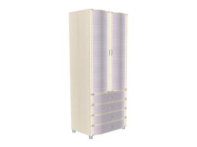 ШК-950 Шкаф многоцелевой 2172х896х620 Дуб Беленый с сиреневыми вставками