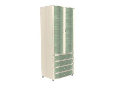 ШК-950 Шкаф многоцелевой 2172х896х620 Дуб Беленый с зелеными вставками