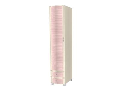 ШК-952 Шкаф многоцелевой 2172х448х620 Дуб Беленый с розовыми вставками