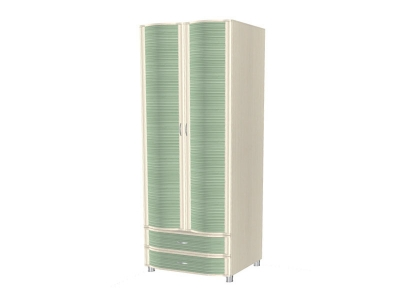 ШК-953 Шкаф многоцелевой 2172х896х620 Дуб Беленый с зелеными вставками