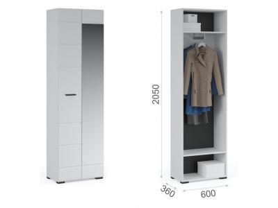 Шкаф 2-х дверный с зеркалом Йорк Белый жемчуг