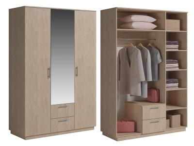 Шкаф 3 двери с ящиками и зеркалом Светлана Дуб сонома