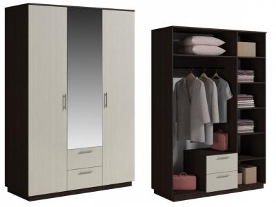 Шкаф 3 двери с ящиками и зеркалом Светлана Венге/Дуб молочный