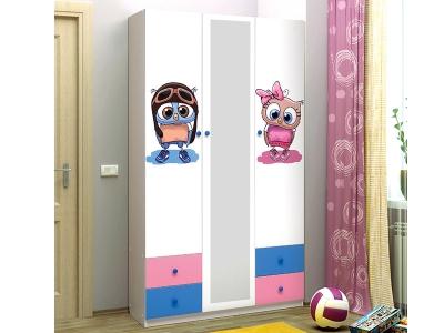Шкаф 3-х дверный с ящиками и зеркалом Совята 3.1