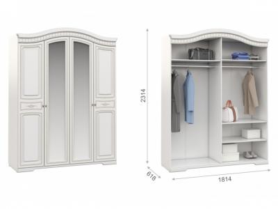 Шкаф 4-х дверный Диана белый/золото