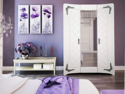 Шкаф Аделина А 2.0.1 Белый глянец-Серебро