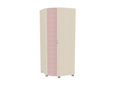 Шкаф для одежды и белья ШК-907 2172х891-891х620 Дуб Беленый с розовыми вставками