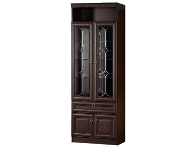 Шкаф для посуды 612 Инна денвер темный 800х368х2248 полки - стекло