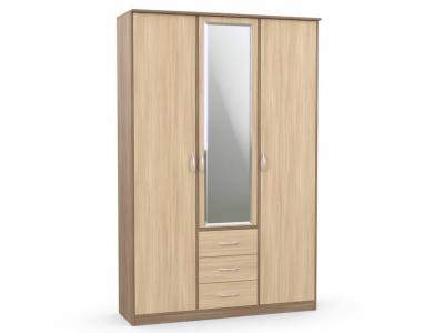 Шкаф комбинированный Дуэт Люкс 1500х450х2300 с зеркалом ясень шимо