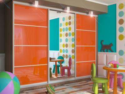 Шкаф-купе Татьяна две двери МДФ шимо темный-оранжевый