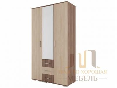 Шкаф трехстворчатый с зеркалом СВ 7 Ясень шимо темный/Ясень шимо светлый
