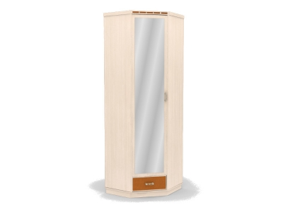 Шкаф угловой с зеркалом Кэри голд млечный дуб 730х730х2254