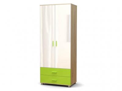 Шкаф Максим 2-2 с ящиками Дуб сонома - МДФ Белый глянец - МДФ Зелёное яблоко