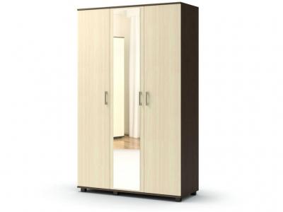 Шкаф Максим 3-х без ящиков с зеркалом Венге - Дуб млечный