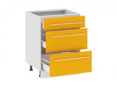 Шкаф напольный с 3 ящиками Н(3)3я_72-60_3Я Ассорти Лимон