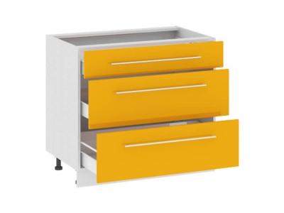 Шкаф напольный с 3 ящиками Н(3)3я_72-90_3Я Ассорти Лимон