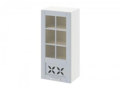 Шкаф навесной cо стеклом и декором левый В_96-45_1ДРДс(L) Скай Голубая