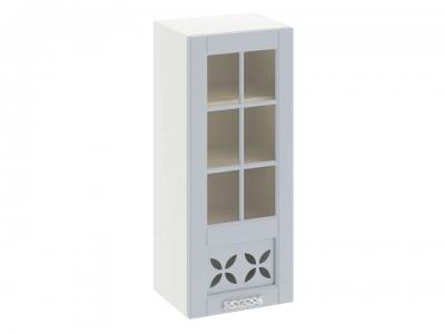 Шкаф навесной cо стеклом и декором правый В_96-40_1ДРДс(R) Скай Голубая