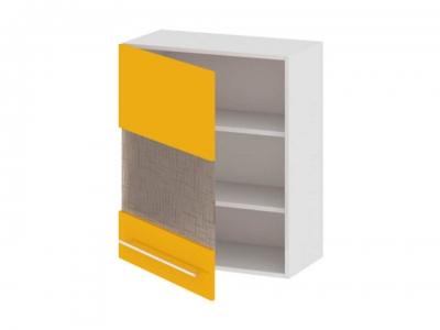 Шкаф навесной со стеклом левый В_72-60_1ДРс(А) Ассорти Лимон