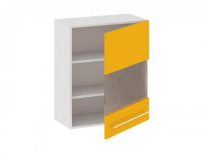 Шкаф навесной со стеклом правый В_72-60_1ДРс(Б) Ассорти Лимон