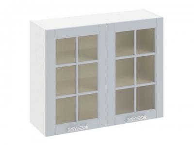 Шкаф навесной со стеклом В_72-90_2ДРс Скай Голубая