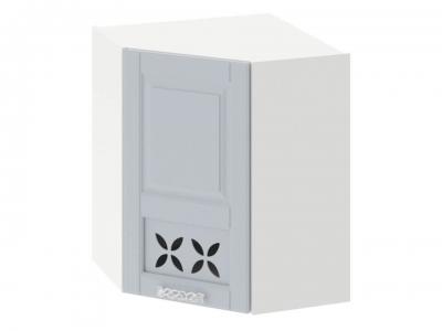 Шкаф навесной угловой 45 с декором ВУ45_72-(40)_1ДРД(L) Скай Голубая
