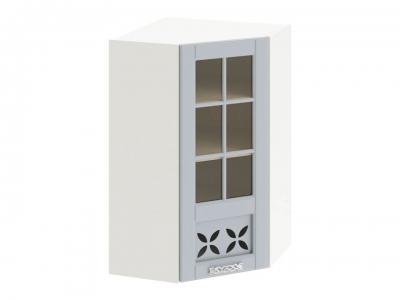 Шкаф навесной угловой 45 со стеклом и декором ВУ45_96-(40)_1ДРДс(R) Скай Голубая