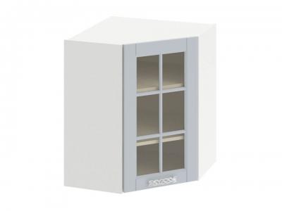 Шкаф навесной угловой 45 со стеклом ВУ45_72-(40)_1ДРс Скай Голубая