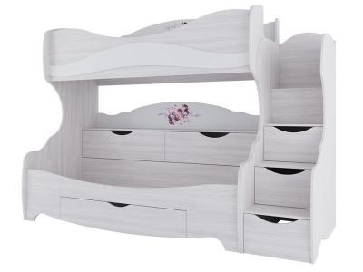 Двухъярусная кровать Акварель-1 800х200 2515х1920х1150 Цветы