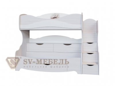 Двухъярусная кровать Акварель-1 800х200 2515х1920х1150 Море