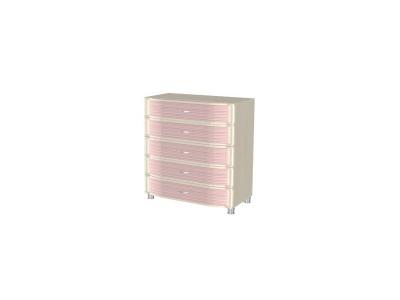КМ-915 Комод 960х896х492 Дуб Беленый с розовыми вставками
