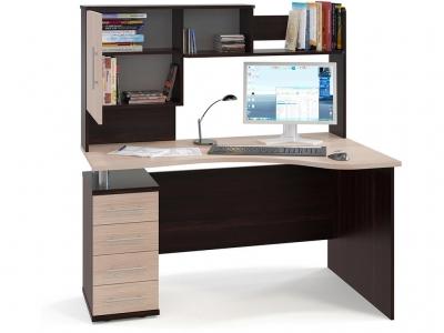 Компьютерный стол Сокол КСТ-104.1 c надстройкой левый Венге/Беленый дуб