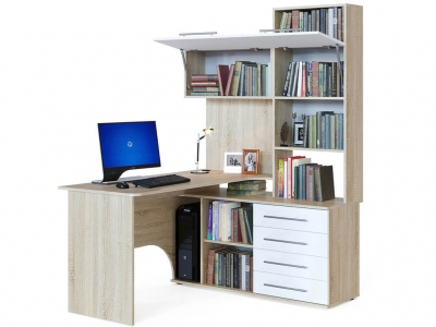 Компьютерный стол Сокол КСТ-14 правый Дуб Сонома/Белый