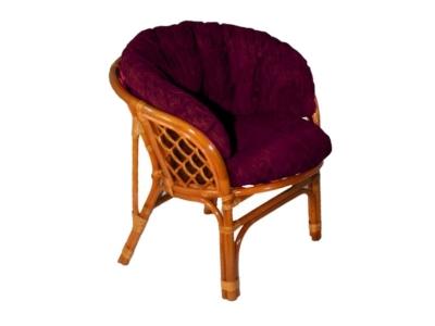 Кресло Багама коньяк с темной полной подушкой