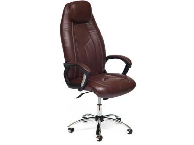 Кресло Boss хром + кож.зам Коричневый + Коричневый перфорированный (2 Tone/2 Tone /06)