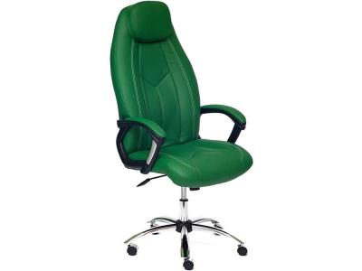 Кресло Boss хром + кож.зам Зеленый + Зеленый перфорированный (36-001/36-001/06)