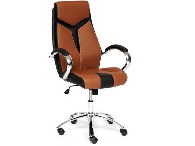 Кресло Gloss хром + кож.зам Коричневый + Чёрный (57)