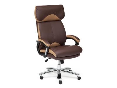Кресло Grand кожа + кож.зам + ткань Коричневый + Бронза (21)