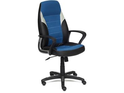 Кресло Inter кож.зам + ткань Чёрный + Синий + Серый (36-6/с24/14)
