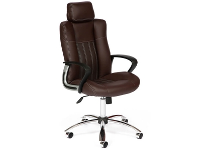 Кресло Oxford хром кож.зам Коричневый + Коричневый перфорированный (36-36/36-36/06)