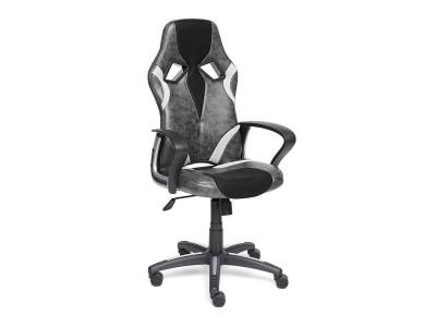 Кресло Runner иск кожа - ткань Серый - Чёрный