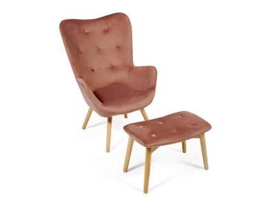 Кресло Secret De Maison Kontour с оттоманкой Коралловый (mod.1534l)
