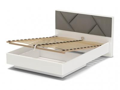 Кровать 140 Аида ПМ Белый - МДФ Топлёное молоко - ткань Энигма серебро