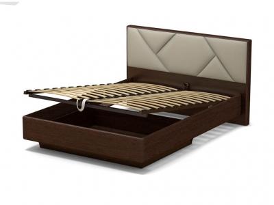 Кровать 140 Аида ПМ Венге - МДФ Орех премиум - ткань Энигма бежевый