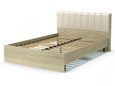 Кровать 140 Рондо с основанием Дуб сонома - эко-кожа бежевая